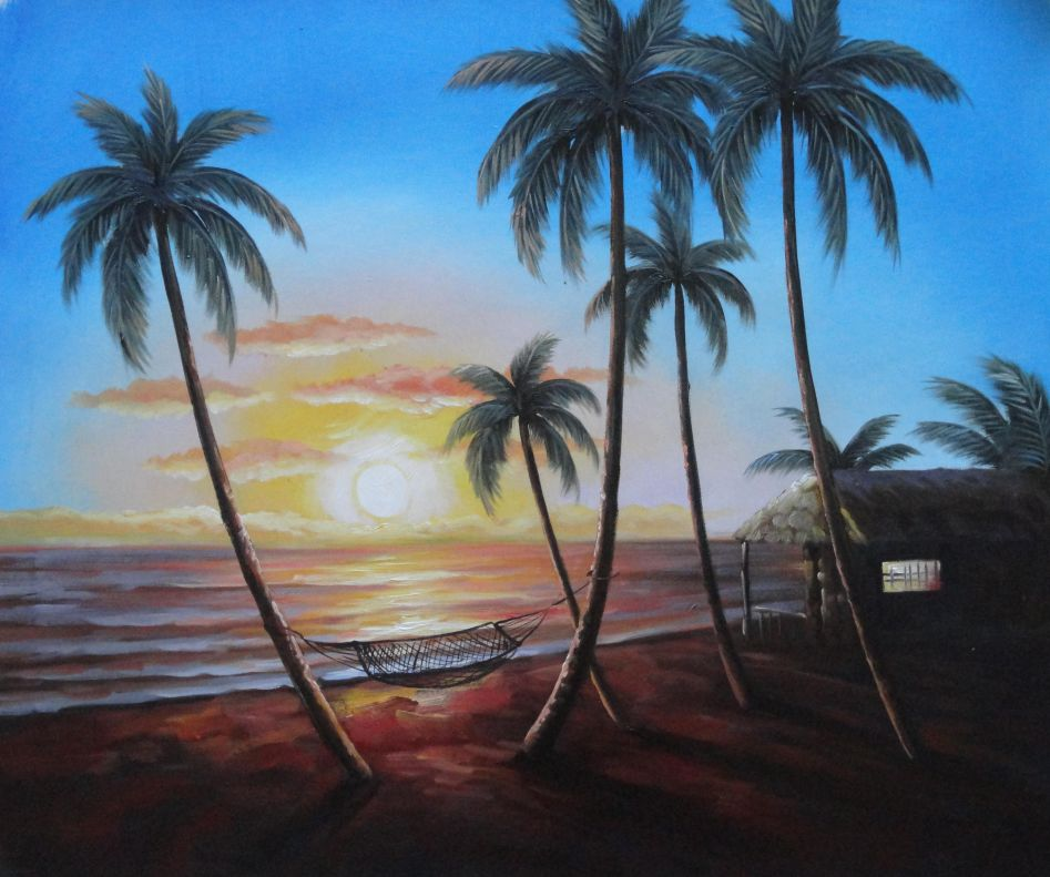 20x24 tropical beach sunset with palm tree with hammock for Painting palm trees