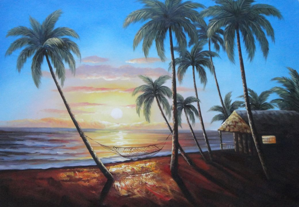 Hawaii Retreat With Palm Trees On Sunset Oil Painting