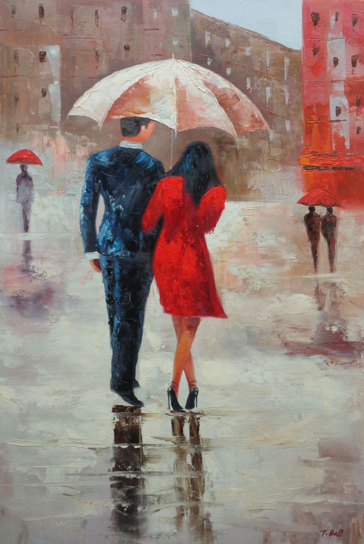 Framed Romantic Young Couple in Blue and Red Walking Under ...