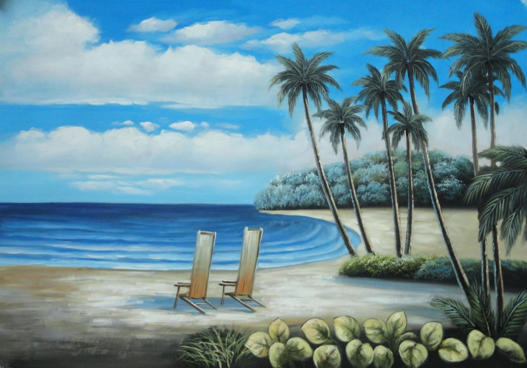 24x36 Palm Trees Two Chairs Hawaii White Sand Beach Blue ...