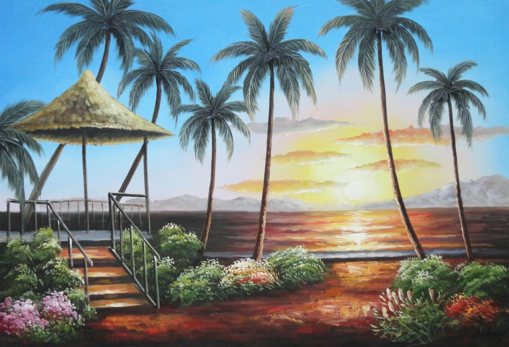 Hawaii straw hut with palm trees on sunset oil painting for Painting palm trees