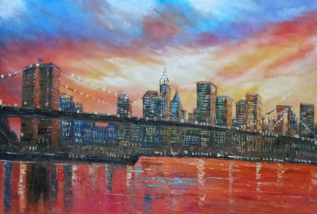 Brooklyn Bridge And Manhattan Skyline Oil Painting
