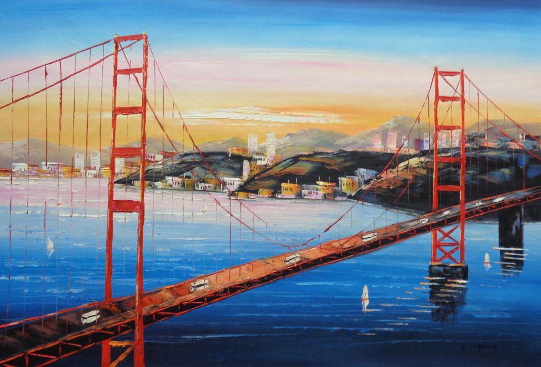 Golden Gate Bridge San Francisco Oil Painting Cityscape