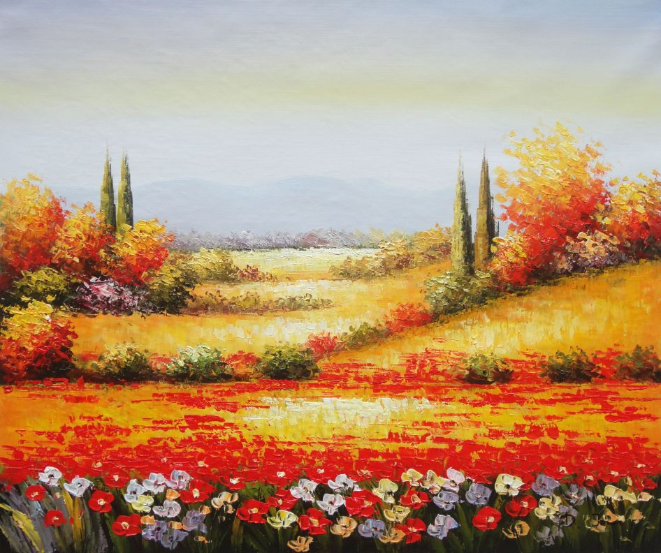 Tuscan Poppies And Cypress Oil Painting Landscape Field