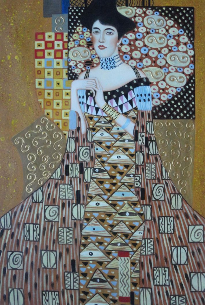 framed portrait of adele bloch bauer gustav klimt replica oil painting portraits couple modern. Black Bedroom Furniture Sets. Home Design Ideas