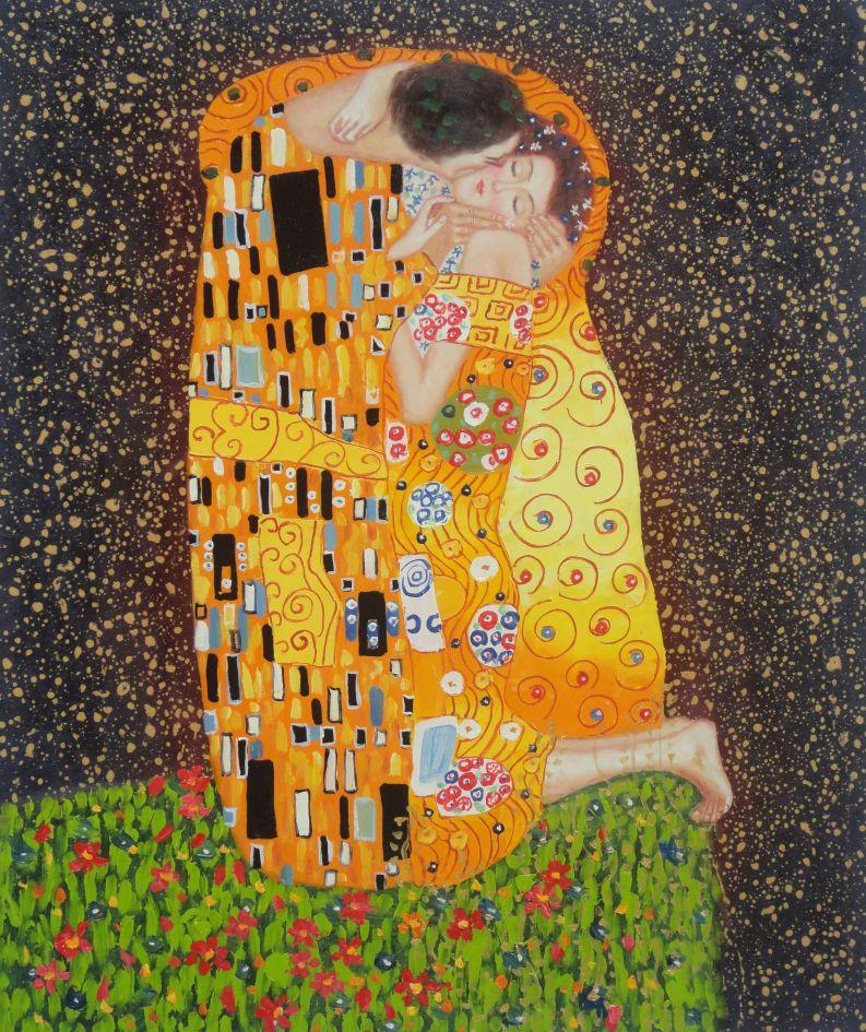 Pintura al óleo enmarcado 30x26 el beso de Gustav Klimt Retrato Par ...