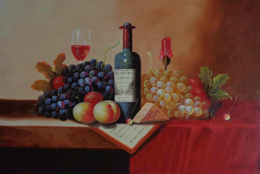 Still Life Of Wine Bottle Glass Of Red Wine Grapes And