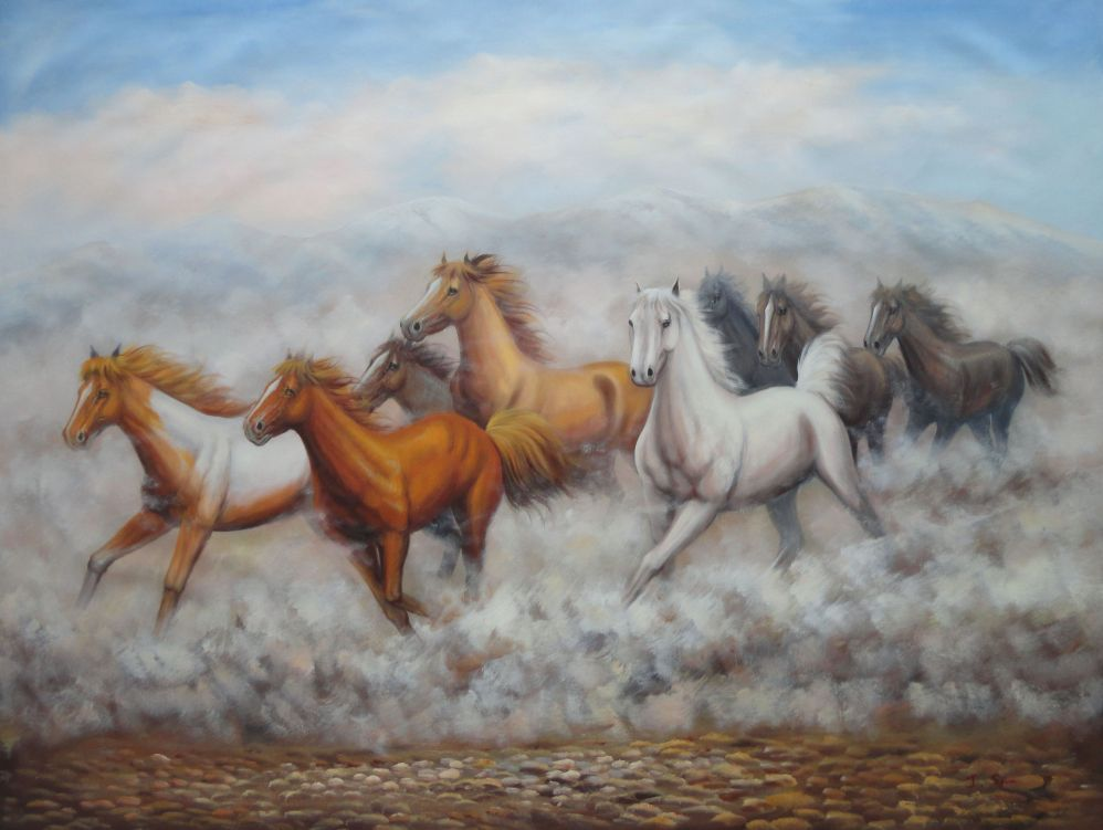36x48 Eight Running Horses On Wild Oil Painting Naturalism ...