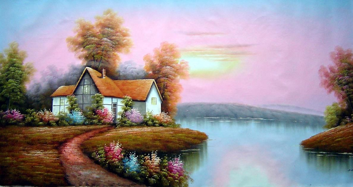 Summer Cottage Landscape Large Painting Oil Village