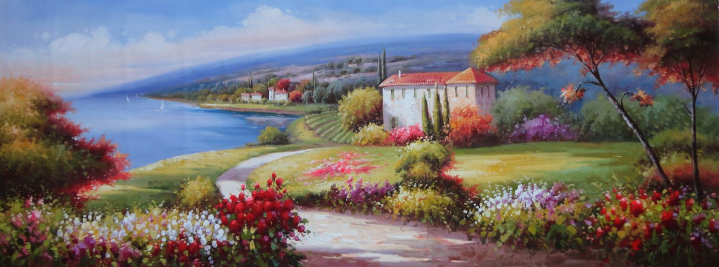 Flower Garden Paintings large painting of flower garden at mediterranean coast oil