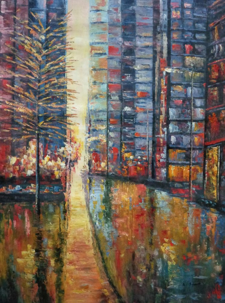 40x30 City Street with Tall Modern Buildings Oil Painting ...