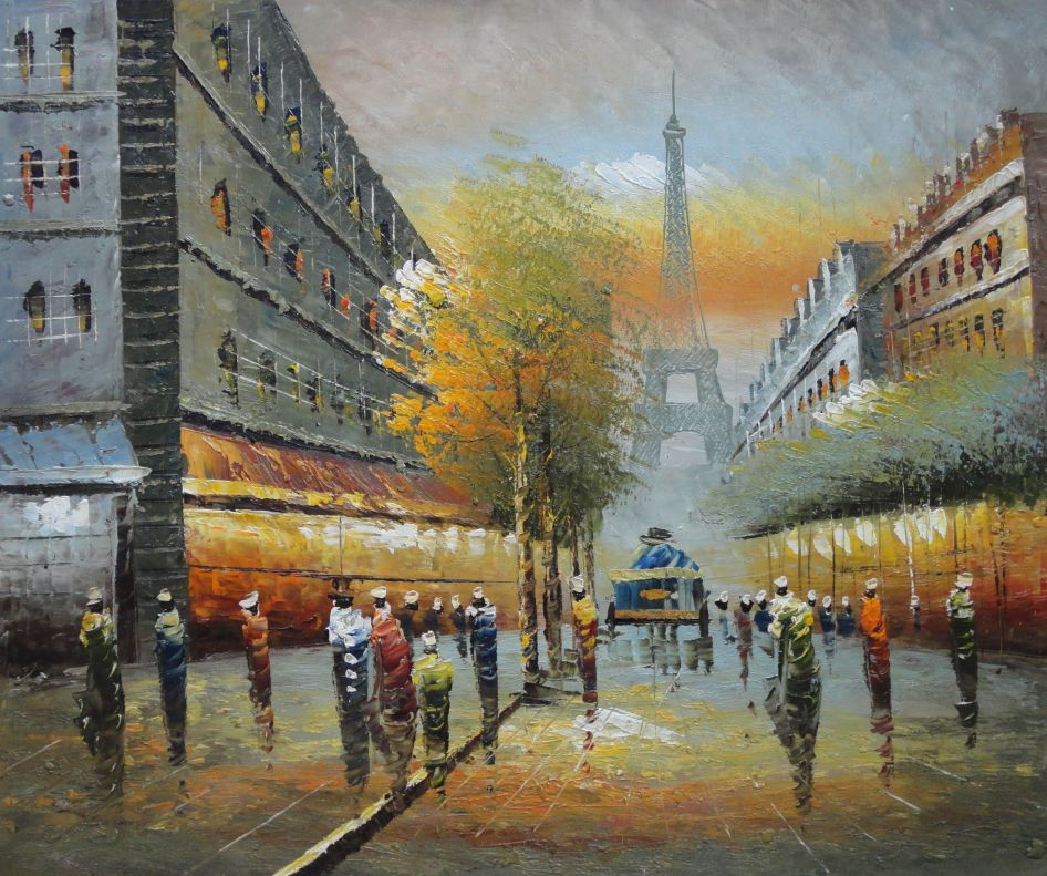 Impressionism Paris: Impressionist Paris Street Cityscape In Early 19th Century