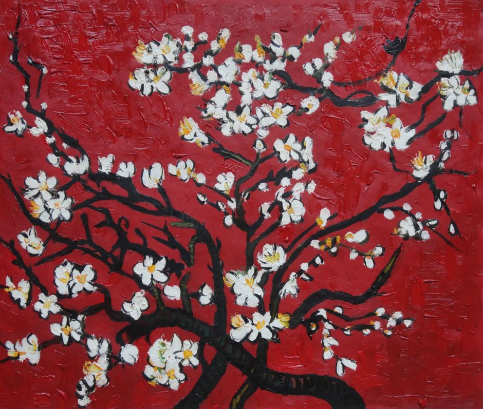 Branches Of Blossoming Almond Tree In Red Van Gogh