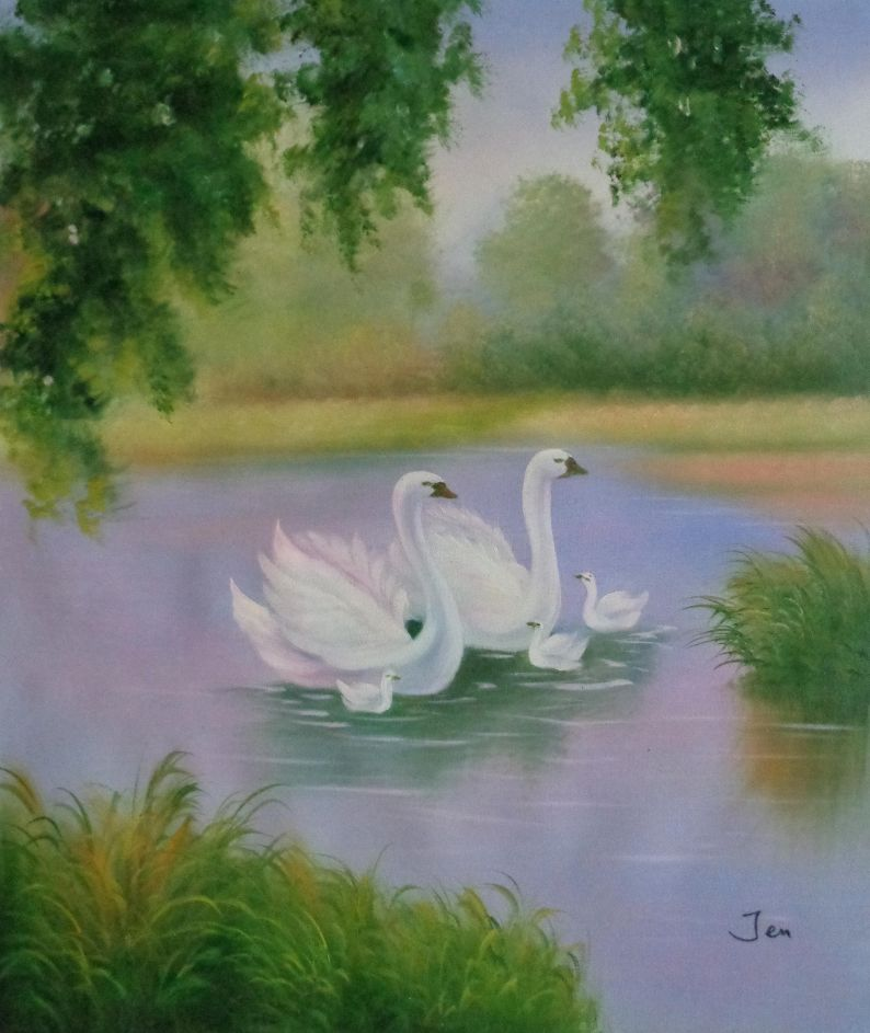 White Swans In Beautiful Lake Oil Painting Animal Classic