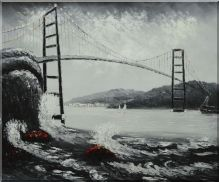 Black And White San Francisco Golden Gate Bridge Oil Painting Seascape America Naturalism 20 X 24 Inches Oil Painting