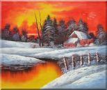 A Snow Coverd Cottage in Winter Forest at Christmas Sunset Oil Painting Landscape River Naturalism 20 x 24 inches