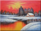 A Snow Coverd Cottage in Winter Forest at Christmas Sunset Oil Painting Landscape River Naturalism 36 x 48 inches