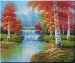 Two Small Waterfalls in Gloden Autumn Oil Painting Landscape Naturalism 20 x 24 inches