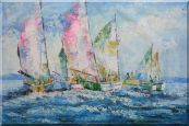 Racing Sailboats Regatta Spinnaker Oil Painting Boating Impressionism 24 x 36 inches