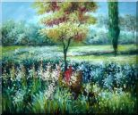 Colorful Flowers and Trees in a Garden Oil Painting Landscape Impressionism 20 x 24 inches