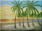 Tropical Paradise of Palm Trees on Sunset at Seaside Oil Painting  36 x 48 inches