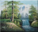 Small Waterfall With Pointed Snow Mountain in Alasak In Spring Oil Painting Landscape Naturalism 20 x 24 inches