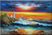 Seashore Light House Under Cloudy and Glowing Sky Oil Painting Seascape America Naturalism 24 x 36 inches