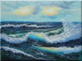 White Waves and Blue Sea On a Background of Cloudy Sky Oil Painting Seascape Naturalism 36 x 48 inches