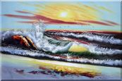 Storm Sea Waves and Flying Sea Birds On Sunset Oil Painting Seascape Naturalism 24 x 36 inches
