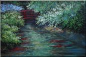 Red Bridge on Flower Covered Tranquil River Oil Painting Landscape Naturalism 24 x 36 inches