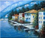 Scenc Coastal Town Oil Painting Mediterranean Naturalism 20 x 24 inches