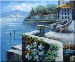 View from Terrace of Villa Oil Painting Mediterranean Naturalism 20 x 24 inches