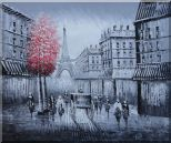 Paris Street to Eiffel Tower Black and White Oil Painting Cityscape Impressionism 20 x 24 inches