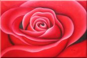The Beauty of Red Rose Bud Oil Painting