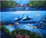 Magical Sea World Oil Painting Animal Marine Life Dolphin Fish Naturalism 20 x 24 inches