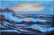 Sea Waves Crashing Over Rocks on Coast of Sea Oil Painting Seascape America Naturalism 24 x 36 inches