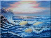 Sea Waves Crashing Over Rocks on Coast of Sea Oil Painting Seascape America Naturalism 36 x 48 inches