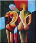 Nude Couple in Love Oil Painting Portraits Modern Cubism 24 x 20 inches