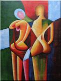 Nude Couple in Love Oil Painting Portraits Modern Cubism 48 x 36 inches