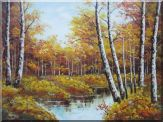 Golden Birch Trees with Small Pond Oil Painting Landscape Autumn Naturalism 36 x 48 inches