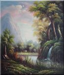Summer Waterfall Under Mountain Oil Painting Landscape River Classic 26 x 22 inches