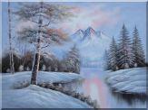 Snow-Covered River and Mountain Scenery Oil Painting Landscape Winter Naturalism 36 x 48 inches