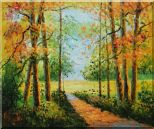A Peaceful Path in Colorful Fall Forest Oil Painting Landscape Tree Impressionism 20 x 24 inches