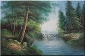 Mountain Water Cascade in Early Spring Oil Painting Landscape River Naturalism 24 x 36 inches