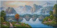 Wonderful Landscape With Waterfalls, Mountains and Trees Oil Painting Asian 24 x 48 inches
