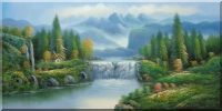 Waterfall, Lake,  Peaceful Mountain Scenery Oil Painting  24 x 48 inches