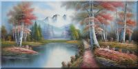 Mountain, Lake, Trees in Autumn Oil Painting Landscape River Naturalism 24 x 48 inches