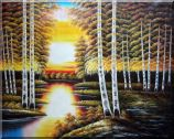 Riverside Autumn Golden Forest Scenery Oil Painting Landscape Tree Naturalism 48 x 60 inches