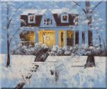 Sweet Home in Winter Snow Christmas Oil Painting Village Naturalism 20 x 24 inches