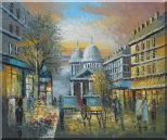 People Walk on Paris Street at Evening in Nineteenth Century Oil Painting Cityscape France Impressionism 20 x 24 inches